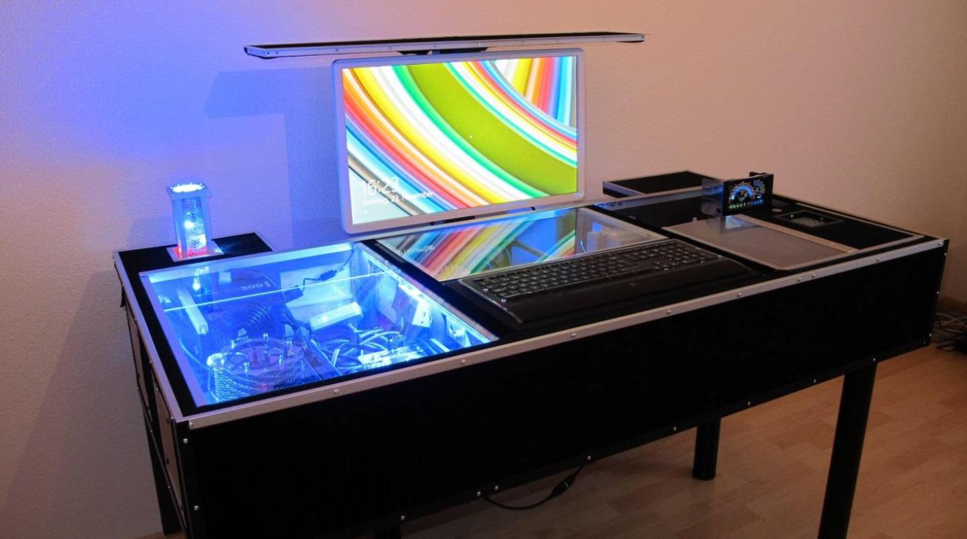 flatlift im computertisch selbstbau projekt eines kunden