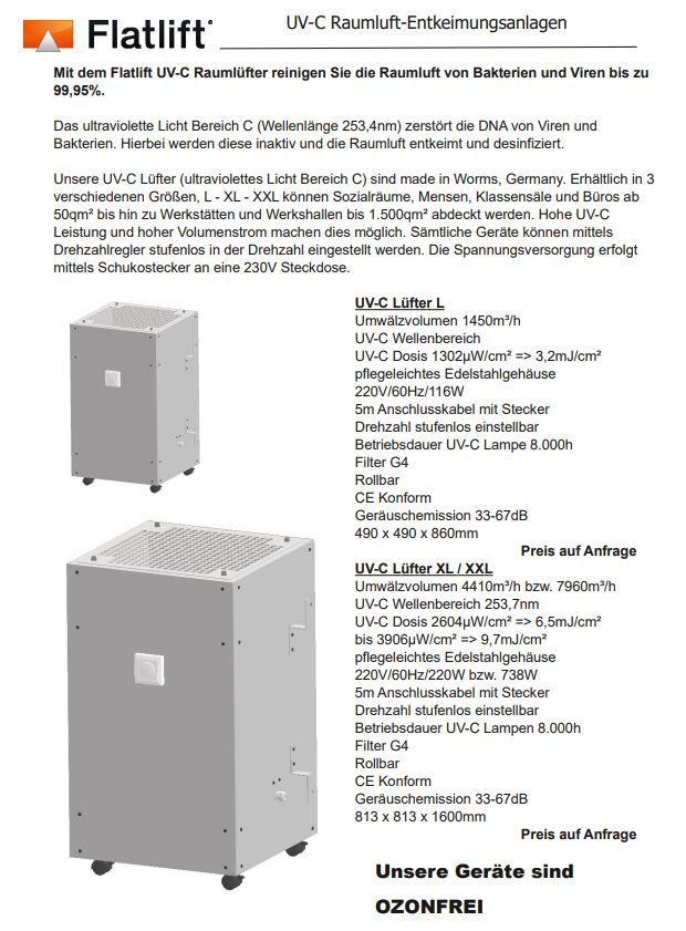 UVC Raumluftdesinfektionsanlage